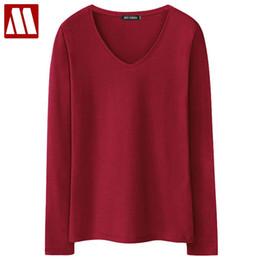 Wholesale V Neck Undershirts - 2018 New Women's T-shirts Long Sleeve undershirt V neck Pure color tshirt Woman Casual Tees T Shirt Tops Woman T-shirt Female