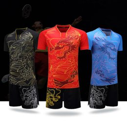 Wholesale Table Tennis Shirts - New Badminton Jersey Wear Set Men Table Tennis Clothes Male Clothing Suit Short Sleeved Badminton Shirt Tennis