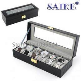 Wholesale Carbon Fiber Storage Boxes - Free Shipping Carbon Fiber 6 Slots Watches Box With Key Black Leather Watch Display Brand Watch And Jewelry Storage Boxes W178