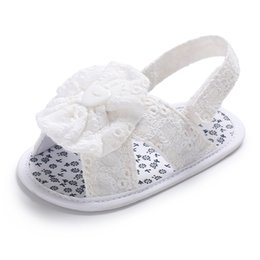 Wholesale Crochet Cute Baby Shoes - top quality baby Gladiator sandals shoes handmade Baby girls sandals shoes new flower Cute Crochet sandal 0-18month