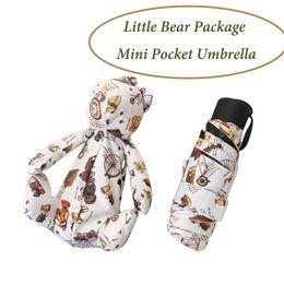 2019 guarda-chuvas femininas Moda Mini Guarda-chuva de Bolso Com Teddy Bear Pacote de Boneca das Mulheres Guarda-chuva Compacto Dobrável Ensolarado Chuvoso Guarda-chuva guarda-chuvas femininas barato