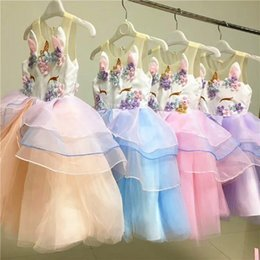 2018 vendita calda fantasia bambina unicorno ricamo principessa partito vestito senza maniche bambini vestito da tutu gonfio da