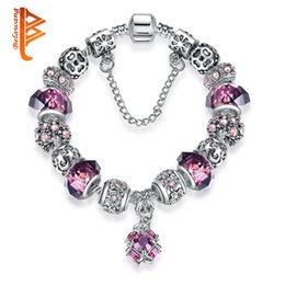 Wholesale 925 Silver Brazil - BELAWANG 925 Silver Purple Murano Glass Crystal Bead Charm Bracelet with Safety Chain for Women Russia & Brazil Fashion Jewelry