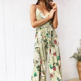 83f074e443cb 2018 rompers womens jumpsuit Strappy Floral Slit Long Trouser Playsuits  Holiday summer romper bodysuit C30814