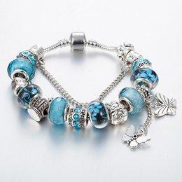 925 sterling silber schmetterling anhänger online-17cm bis 21cm 925 Sterling Silber plattiert Schmetterling Quaste Anhänger Armband für Pandora Silber Charm Schlangenkette Armbänder