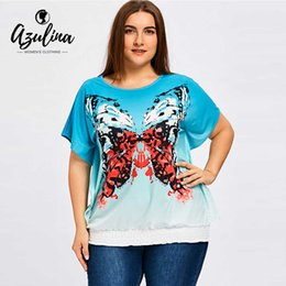 Wholesale Ladies Tops Butterfly Sleeve - AZULINA Plus Size Butterfly Blouson T-Shirt Women O Neck Batwing Sleeve Ladies Tops Summer T-Shirts Women T Shirts Pullover 5XL