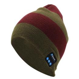 Comercio al por mayor Bluetooth Music Beanie Hats Wireless Smart Cap Auriculares Auriculares Micrófono Manos Libres Música Sombrero Rayado Envío de La Gota Gratis desde fabricantes