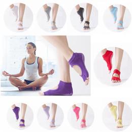Wholesale Yoga Half Toe Socks - 9 Colors Half Toe Yoga Socks Non-Slip Gym Sports Socks Pilates Ankle Grip Cotton Kids Socks AAA237