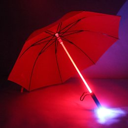 Wholesale Long Hanging Lights - LED Light Rain Umbrella LED Light Flash Umbrella Light Saber Umbrella Safety Fun Blade Runner Night Protection 4 Colors