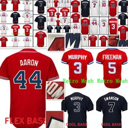 Wholesale Hank Aaron Baseball - Men's Baseball Jerseys #44 Hank Aaron 10 Chipper Jones 5 Freddie Freeman stitched jerseys Free Shipping Red White Black