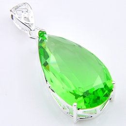 Wholesale Sterling Silver Gem Jewelry - High Quality Luckyshine 10PCS 1Lot Drop Fire Grass Green Quartz Crystal Gems 925 Silver Pendants Unique Russia Weddings Jewelry Gift