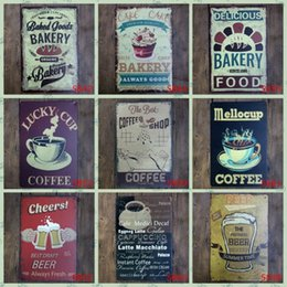 Wholesale Hot Coffee Cups Wholesale - Lunck Cup Coffee Tin Poster Cheers Best Draft Beer Fresh Cake Bakery Tin Sign Hot Chocolate 20*30cm Iron Paintings Fashion 3 99lP B