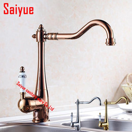 Wholesale Hot Cranes - New Arrivel Home decoration Single Handle Bathroom Sink Mixer Faucet crane tap rose gold chrome Hot and Cold Water
