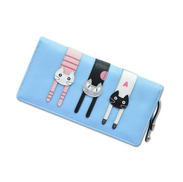 Wholesale Cute Photos - Women Cartoon Anime Wallets Purses Female Cute Cat Zipper Coin Purse Credit Card Holder Lady Long Child Pussy Clutch Bag