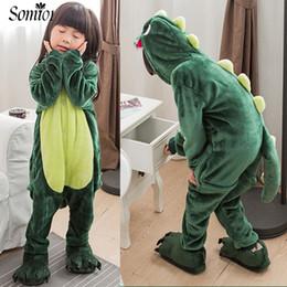 Wholesale Kids Winter Pjs - Cartoon Animal Children Conjoined Pajamas Dinosaurs Pegasus 2017 Winter Toddler Kids Warm Flannel Siamese Pjs Cute Baby Clothes