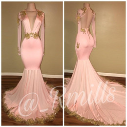 Wholesale Art Deco Dresses - 2018 Modest Sexy Open Back Pink Prom Dresses Mermaid Deep V Neck Long Sleeves Gold Appliques Sweep Train Evening Gowns BA7606