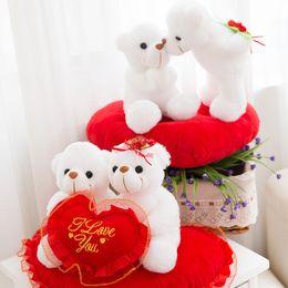 Wholesale White Plush Bears - 2018 Creative cute LOVE puppy LOVE teddy bear dolls stuffed animals toys valentine's day gift plush toys wholesale