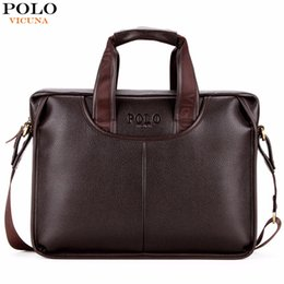 Wholesale Black Computer Bag - VICUNA POLO Classic Design Large Size Leather Briefcases Men Casual Business Man Bag Office Briefcase Bags Laptop Bag maletin