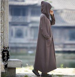 2018 autunno e inverno in cotone e lino nuova giacca cappotto cappotto donna originale con cappuccio retrò delle donne da