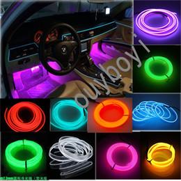 Wholesale fluorescent strip lights - 2M 12V EL-Wire Car SUV Unique Decor Fluorescent Strip Neon Lamp Cold light