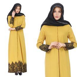 Мода Мусульманских Женщин Абая Платье С Длинным Рукавом Длиной До Пола Элегантный Свободные Кружева Халаты Исламская Женская Одежда Длинное Платье cheap xl muslim woman clothes от Поставщики xl мусульманская женская одежда