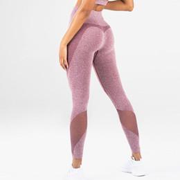 2019 mallas de entrenamiento de malla Mujeres Fitness Leggings deportivos Push up Mesh Yoga Pants Cintura alta Seamless Leggings Gym Medias Mujeres Running Pant Workout Leggins mallas de entrenamiento de malla baratos