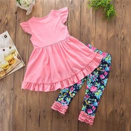 Wholesale Flower Pants Outfits - INS Girls Children Flower Print Clothing Sets Pink Dresses Floral Pants 2Pcs Set Cotton Girl Kids Princess Dress Boutique Clothes Outfits