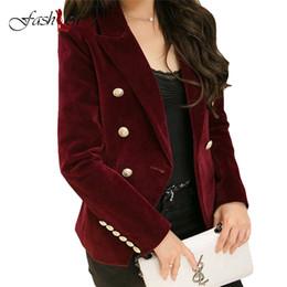 Wholesale Women Fashion Blazers - Double Breasted Lady Blazers Plus Size OL Blazer 2017 New Spring Autumn Fashion Women Midnight Navy Slim Velvet Blazer Jackets