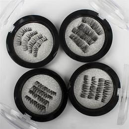 Wholesale Eye Lashes Set - 4Pcs Set Handmade 3D Double Magnetic Eyelashes on magnets Natural No-glue Fake Eye Lashes Brown Magnet False Eyelash Extension