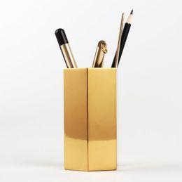 Canada Six-sided Diamond Design en laiton en métal bureau stylo porte-crayon - multi usage utiliser crayon coupe brosse pot bureau organisateur - décoration de bureau à domicile Offre