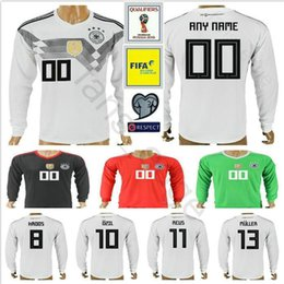 Wholesale Soccer Jersey Germany - 2018 Germany Long Sleeve Jersey Muller Gotze Reus Kroos Draxler Neuer OZIL HUMMELS BOATENG Home World Cup Soccer Football Shirt