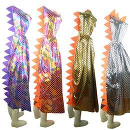 Trajes de cocodrilo online-Boy Girl Niños Niños Disfraces de Halloween Dinosaur Cloak Gown Robe Con Gorra Cap Cosplay Chirstmas Crocodile Colorful Animal Cape