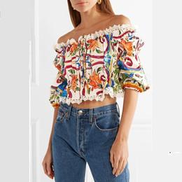 Diseñador de la marca de las mujeres fuera del hombro Blusa de la cosecha 2018 Summer Runway Moda Patchwork Encaje Floral Estampado de media manga túnica camisas de gasa desde fabricantes