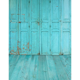 Wholesale Old Wood Background - Blue Painted Old Doors Photography Backdrops Wood Floor Printed Baby Newborn Photographic Props Kids Children Photo Studio Backgrounds