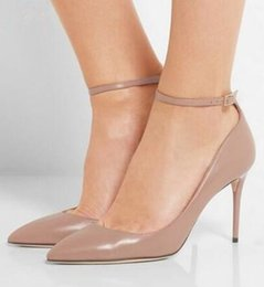 Wholesale pointy toe ankle strap heels - 2018 shoe New Women Wedding Shoes Pointy Toe Pumps Ankle Strap Classics High Heels Khaki Nude Pumps Thin Heels Dress Shoes
