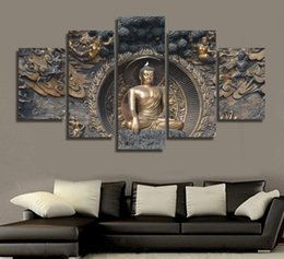 Wholesale Panel Wall Art Buddha Framed - Modular Painting Wall Art Pictures Canvas Poster Frame 5 Panel Buddha Statue Buddhism Art Landscape Home Decor HD Printed
