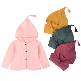 Wholesale Poplin Coat - Girls Coats and Jackets Wrinkles Cotton Design Children 2018 Spring New Baby Clothes Hat Tassel Children Cardigan 2-5 year