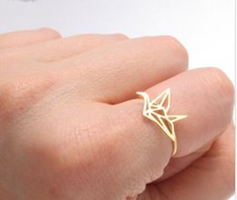 Wholesale Crane Wedding - Wholesale-Paper crane Rings 2018 New arrival New Origami Crane ring, tiny cute animal ring for women Female Organization Jewelry