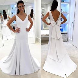 Wholesale Big Size Chart - Plain Designed Pure White Beach Wedding Dresses 2018 Mermaid Backless Bridal Gowns Big Bow Sash Robe de soriee Wedding Dress