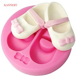 muffa del silicone del bambino 3d Sconti KANNERT 3D Cute Baby Shoes Bow Stampi per dolci in silicone Gum Paste Chocolate Fimo Stampo in argilla per dolci Fondant Cake Decorating Tools