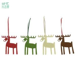 Wholesale Merry Christmas Pendant - 10pcs set Christmas Elk Shaped Pendants Merry Christmas Cute Tree Hangings Lovely Xmas Hanging Drop Home Decoration