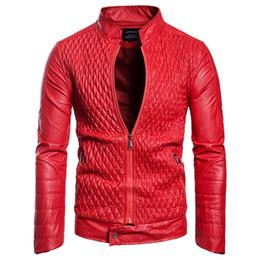 stand di motociclisti all'ingrosso Sconti Commercio all'ingrosso Giacca in pelle di alta qualità maschio del bicchierino di disegno dei vestiti sottile collare del basamento casuale giacca di pelle moto Men casuale outwear