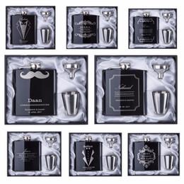 gravura do frasco Desconto 2017 desconto Groomsman presente Personalizado Gravado 6 oz Hip Flask Aço Inoxidável Com Branco Caixa Preta Favores Do Casamento Do Presente