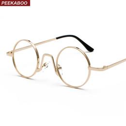 5fa8d8177 Peekaboo mulher pequena óculos quadro homens vintage 2019 ouro retro  círculo rodada óculos de armação de metal decoração nerd