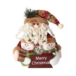 Wholesale Black Santa Ornaments - Xmas Ornament Merry Christmas Santa Claus Snowman Ornament Christmas Family Portrait Flannel Rag Doll Gift