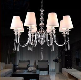 Wholesale Vintage Art Deco Fabric - For Foyer living room bedroom dinning room vintage hanging lamp modern with fabric shade chrome european crystal chandelier.