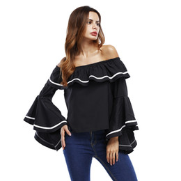 Wholesale Short Sleeve Shirt Office - Summer Fashion Women Casual T-Shirt White Strapless Collar Flounce Sleeve Loose Office Ladies Tee T-Shirt Black S-XL