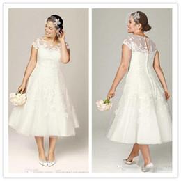 Wholesale Modest Tea Length Dresses - Modest Tea Length Plus Size Lace Applique Wedding Dresses Illusion Bodice Covered Buttons Custom Made Garden Country Bridal Gown
