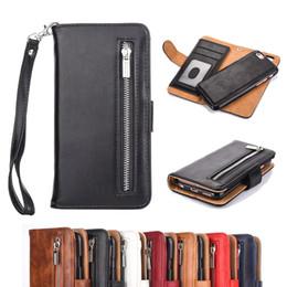 Nota billetera casos de correa online-Para iphone X 8 7 6 plus Funda de cuero desmontable con cremallera extraíble billetera con correa para Samsung S8 Note 8