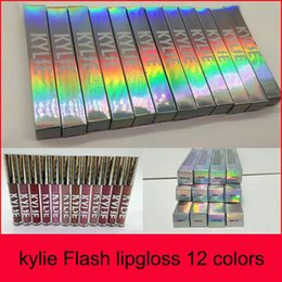 Wholesale twigs wholesale - kylie Flash Lipstick Lip Gloss Retro Matte Liquid lipstick Lipgloss 12colors flash glitter gloss ANGEL SANDY TWIG MOCHA RUBY WOO
